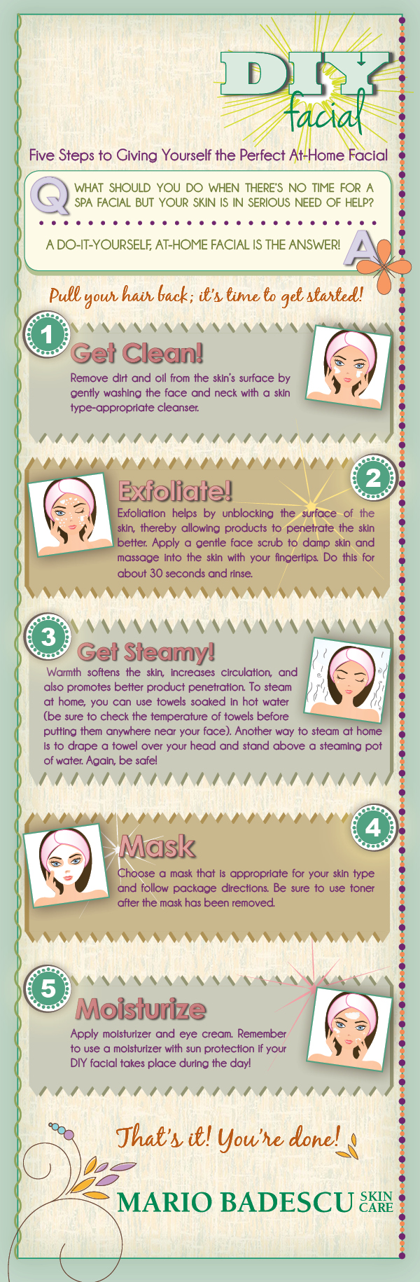 Diy facial five steps to the perfect at home facial infographic solutioingenieria Choice Image
