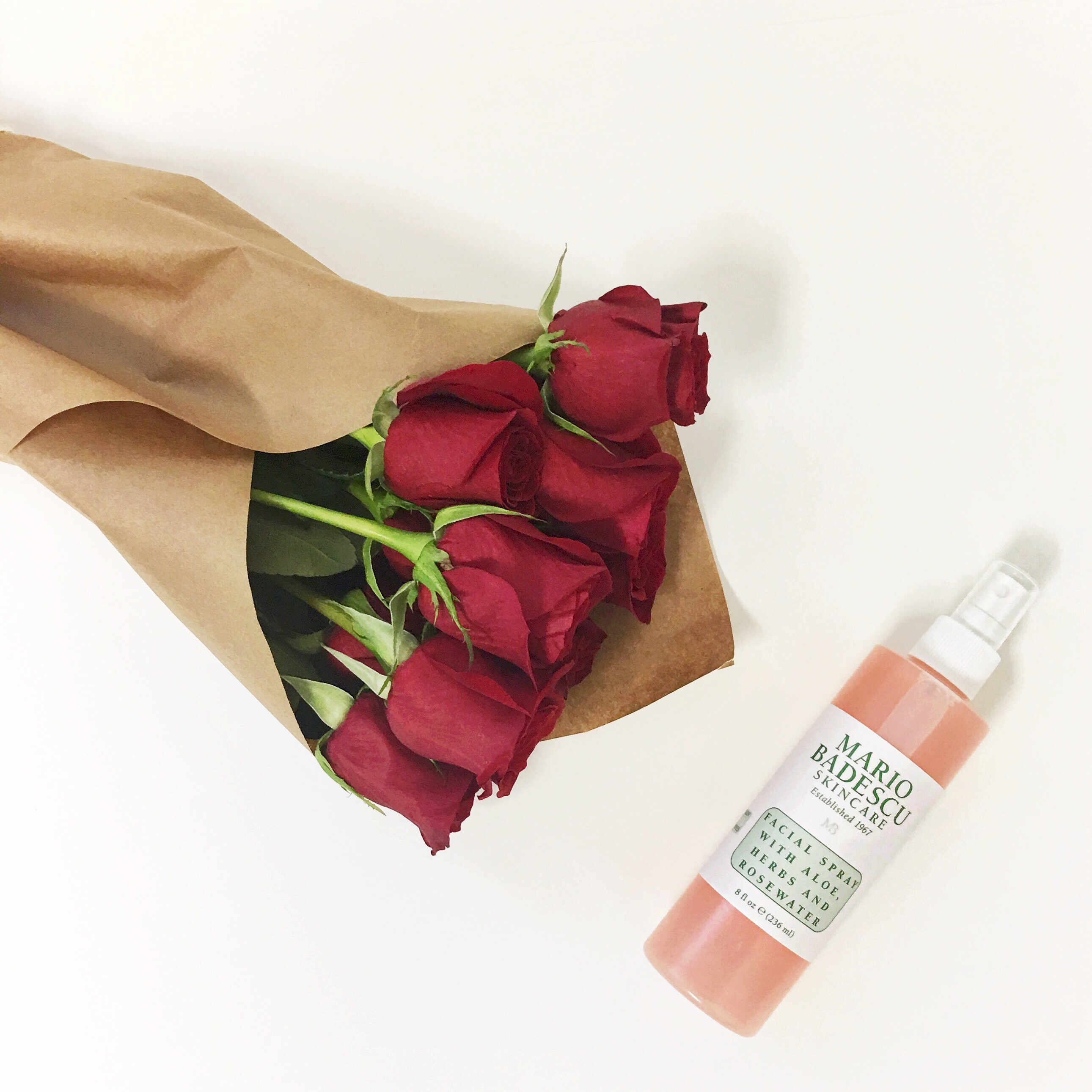 valentine's day red roses brown paper rosewater facial spray