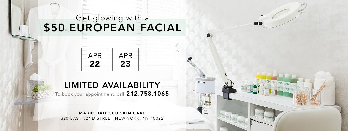 $50 Facials Apr 22, 23