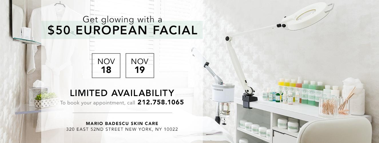$50 Facials Nov 18, 19