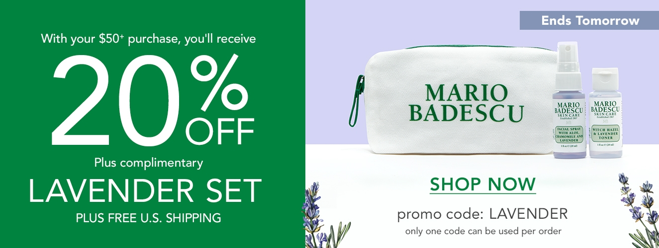 Ends Tomorrow! Save 20% OFF + Free LAVENDER Gift with orders over $50 - promo code LAVENDER