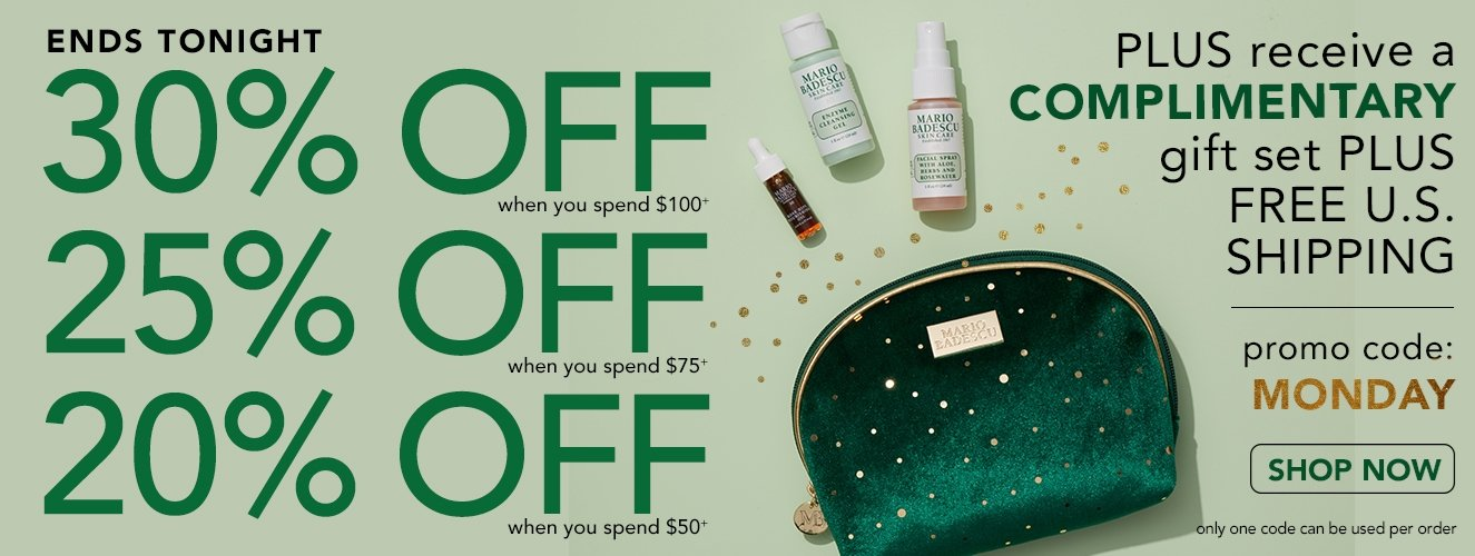 CYBER MONDAY ENDS TONIGHT!  Save up to 30% OFF + Free Gift with code MONDAY