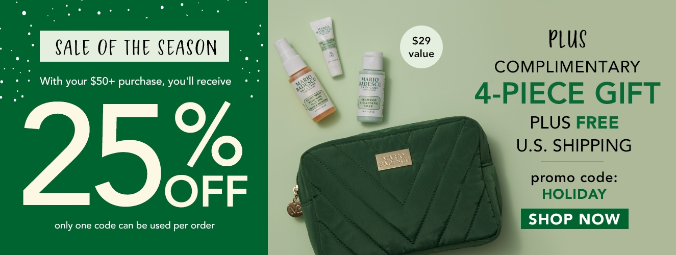 Save 25% OFF + FREE Gift on orders over $50 with code HOLIDAY