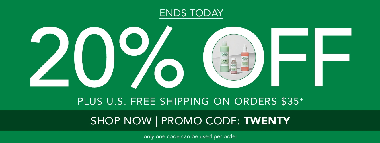 Ends Today!  Save 20% OFF + Free US Shipping on orders  $35+ with code:  TWENTY
